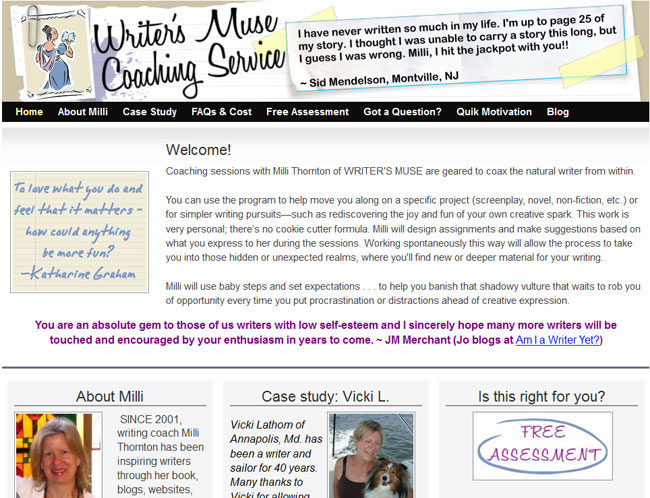 Writer's Muse Coaching Service with Milli Thornton
