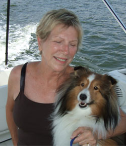 Vicki Lathom and Chico the Boat Dog